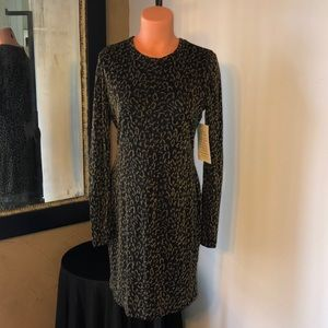 NWT Boston Proper black / gold animal print dress